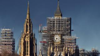 Big Ben surrounded by scaffolding