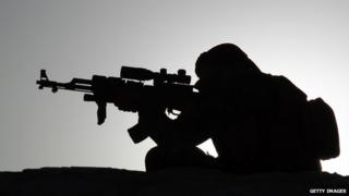 A Middle Eastern Fighter lines up his gun