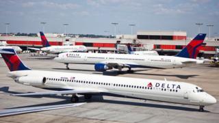 Delta Airlines aircraft at Hartsfield-Jackson Atlanta International Airport in Atlanta, September 15, 2010