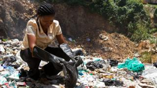 Kenya woman dey for area wey plastic bag dirty full everywhere