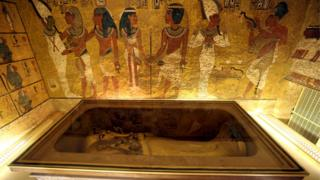 The golden sarcophagus of King Tutankhamun in his burial chamber is seen in the Valley of the Kings, in Luxor, Egypt, November 28, 2015.