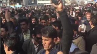 Demonstrasi di kota Masyhad, Iran