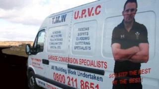 Shane Williams' image on Neil Taylor's van