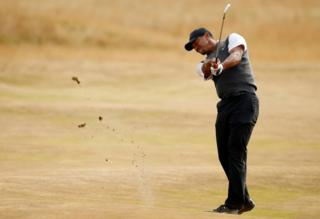 Golf - The 147th Open Championship - Carnoustie, Britain - July 21, 2018 Tiger Woods of the U.S. in action during the third round