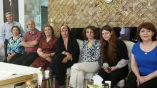 Faezeh Hashemi (fifth from left) sitting next to Fariba Kamalabadi (third from right)