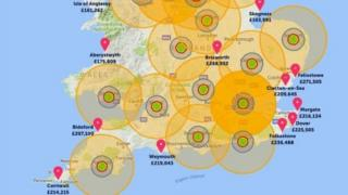 Map showing nuclear impact zones