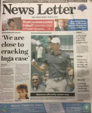 front page of the News Letter Friday 9 April 2018