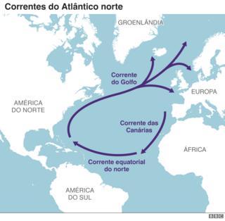 Mapa das correntes marítimas