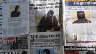 صحف بريطانية عليها صورة الجهادي جون، أحد أفراد تنظيم الدولة الإسلامية