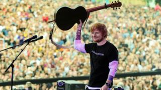 Ed Sheeran performs at the BBC's Biggest Weekend