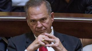 Embattled Alabama Chief Justice Roy Moore listens to closing arguments during his ethics trial before the Alabama Court of the Judiciary on 28 September