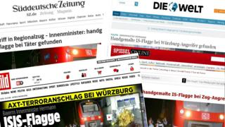 The front pages of German news websites cover the axe attack in a train in Wuerzburg.