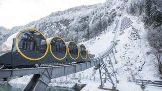 The world's steepest funicular railway, the Stoos Bahn, is inaugurated in Stoos, Switzerland on 15 December 2017
