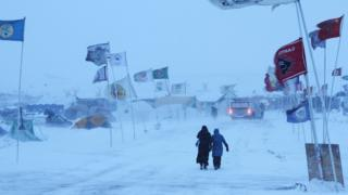 Oceti Sakowin Camp during a winter storm.