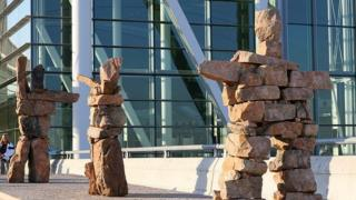 Inuksuk art installation at Toronto Pearson International Airport