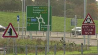 Northern Ireland A5 road sign
