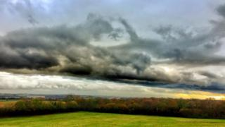 A moody view from Shotover looking South towards Didcot