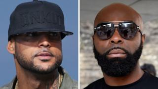 French rapper Booba (L) on May 19, 2014, in Cannes, southern France, and French rapper Kaaris (R) on March 25, 2015, in Paris