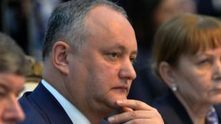File photo of Moldovan President Igor Dodon on April 14, 2017