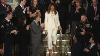 First lady Melania Trump arrives at the State of the Union address in the chamber of the US House of Representatives on 30 January 2018 in Washington, DC
