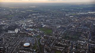 Aerial shot of Peterborough