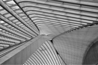 A black and white photo of a train station ceiling made out of metal and glass