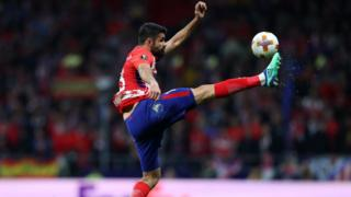 Diego Costa of Atletico Madrid during the UEFA Europa League Semi Final second leg match between Atletico Madrid and Arsenal FC at Estadio Wanda Metropolitano on May 3, 2018 in Madrid, Spain