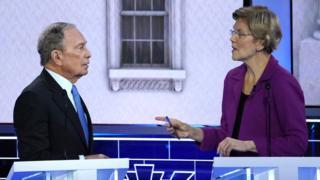 Michael Bloomberg y Elizabeth Warren en el debate demócrata