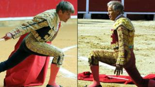 Composite image of two bullfighters in action - not together when the photos were taken, but edited together in this image