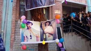 Bollywood actors Jacqueline Fernandez and Ranveer Singh on a poster made by the Hindu Boys' Hostel Union last year