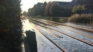 Flooding on railway lines at Kirk Sandall