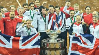Andy Murray and the rest of the GB team celebrate their Davis cup success