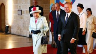 The Queen with President of Malta's Prime Minister Joseph Muscat
