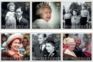 Six stamps marking the Queen's 90th birthday