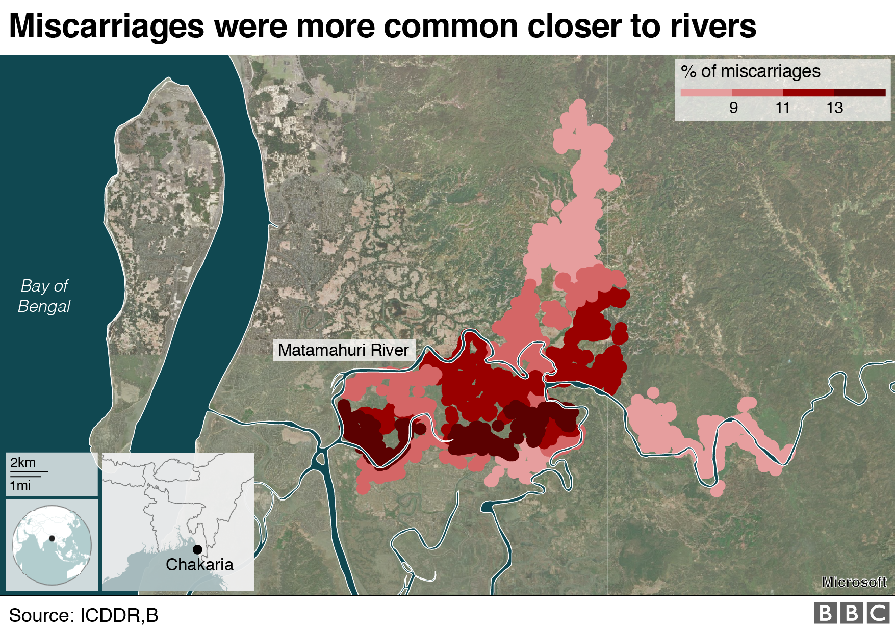 BBC Graphic of miscarriages that take place closer to rivers