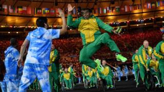 South Africa's Paralympic team - one jumping and high fiving - at the Maracana Stadium in Rio de Janeiro, Brazil - Wednesday 7 September 2016