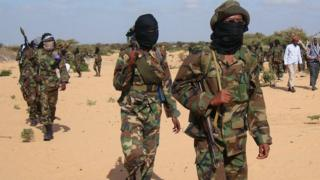 Somalia al-Shabab fighters gather on February 13, 2012 in Elasha Biyaha, in the Afgoei Corridor