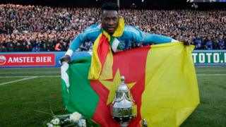 André Onana with Cameroon flag