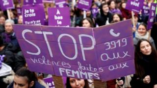 Protesters in Paris condemn violence against women. Photo: 23 November 2019