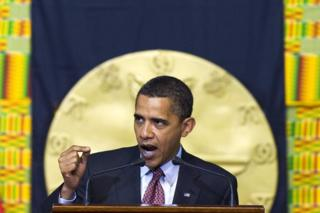 Obama oo u khudbadaynaya baarlamaanka Ghana July 2009