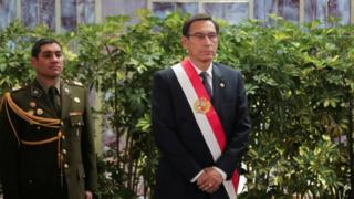 President Martin Vizcarra attends a swearing-in ceremony at the government palace in Lima, Peru October 3, 2019.