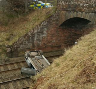 Car on railway line in Brampton