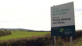 One of the Newry, Mourne and Down District Council bilingual signs