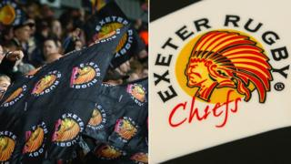 Exeter Chiefs flags being flown by flags and close up of logo