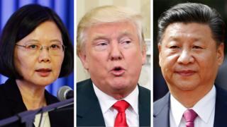 台湾总统蔡英文(左)、美国候任总统特朗普(中)、中国国家主席习近平(右)