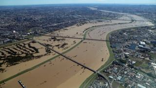 Overflowing Arakawa river between Tokyo and Saitama prefecture, Japan, 13 October 2019
