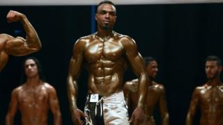 Ashraf Al Taorge poses during a local bodybuilding championship in Benghazi, Libya - Thursday 15 September 2016