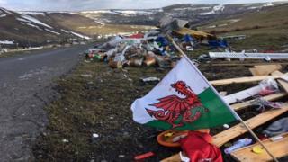 Flytipped waste at Bogey Road in Merthyr Tydfil