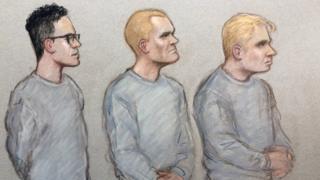 Court sketch of (L-R): Alexander Deakin, Mikko Vehvilainen and Mark Barrett