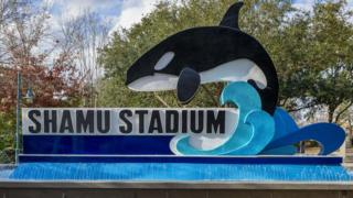 An image of a SeaWorld sign at the Orlando park